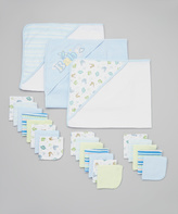 SpaSilk Blue Hooded Towel & Washcloth Set