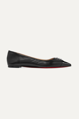 Christian Louboutin Predupump Embellished Patent-leather Trimmed Leather Point-toe Flats - Black