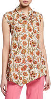 Derek Lam Sleeveless Indian Floral Print Handkerchief Blouse