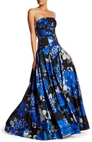 Mac Duggal Strapless Floral Gown