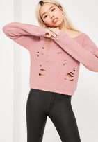 Missguided Pink Distressed Off The Shoulder Sweater