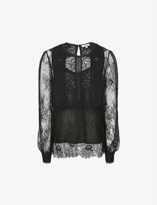 Reiss Serena sheer lace blouse