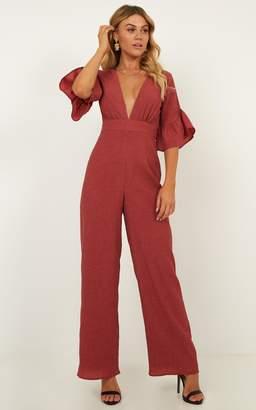 Showpo Lala Land Jumpsuit in paprika linen look - 6 (XS) Playsuits &
