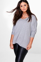 boohoo Plus Lily Long Sleeve Basic Tee