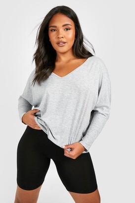 boohoo Plus Long Sleeve Basic T-Shirt
