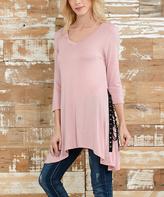 Celeste Pink Lace-Up Sidetail Tunic