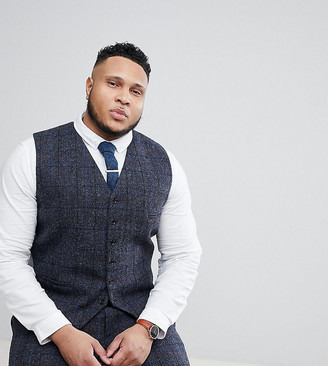 Heart N Dagger plus size slim suit vest in harris tweed in check-Navy