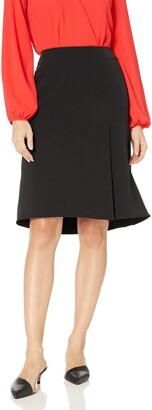 Kasper Women's Petite Stretch Crepe Skirt with Layer Detail