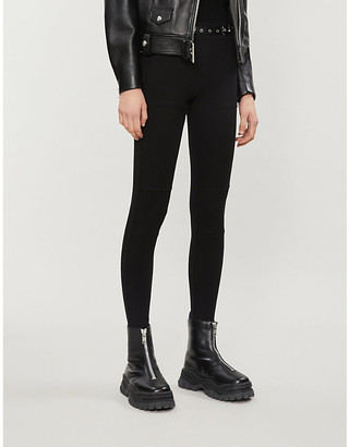 The Kooples Sport Mid-rise stretch-jersey tapered trousers