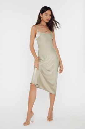 Nasty Gal Womens Bias Cut Square Neck Satin Midi Dress - Beige - 14, Beige