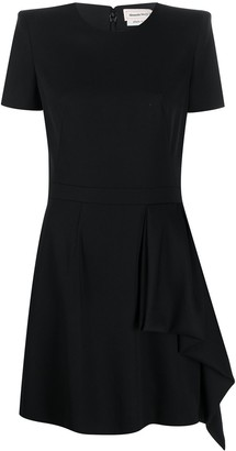 Alexander McQueen Structured-Shoulder Draped-Panel Dress