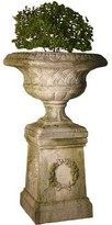 The Well Appointed House Weaved Classical Garden Urn in White Moss with Optional Pedestal