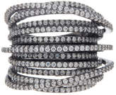 Lafonn Black Rhodium Plated Sterling Silver Micro Pave Simulated Diamond Multiple Crossing Band