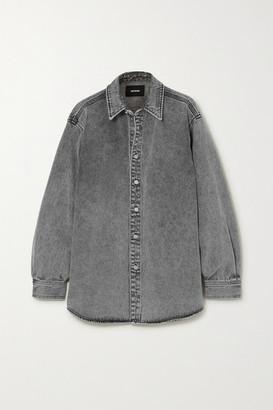 we11done Embellished Stonewashed Denim Shirt - Black