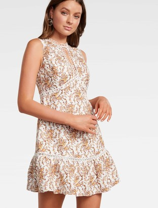 Forever New Penelope High-Neck Mini Dress - WHITE BOHO PAISLEY - 8