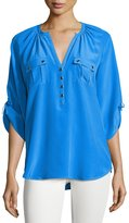Yumi Kim Silk 3/4-Sleeve Blouse, Blue