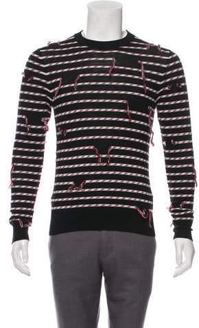 Christian Dior 2016 Virgin Wool Fringe Striped Sweater