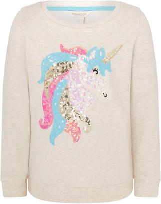 Monsoon Sequin Unicorn Sweatshirt in Organic Cotton Camel