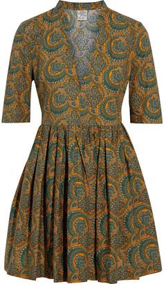 Baum und Pferdgarten Aubrie Gathered Printed Cotton-poplin Mini Dress