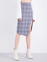 Off-White Split check woven skirt