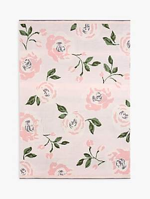 Pottery Barn Kids Meredith Floral Knit Baby Blanket, Pink