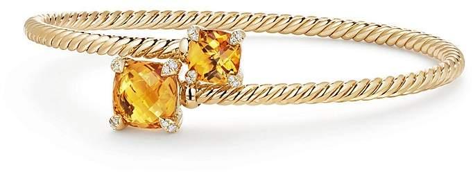 David Yurman Ch'telaine Bypass Bracelet with Citrine and Diamonds in 18K Yellow Gold