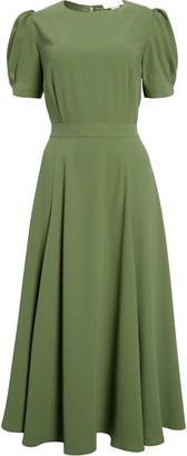Rachel Parcell Puff Sleeve Crepe Midi Dress