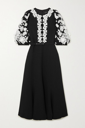 Andrew Gn Belted Appliqued Crepe Midi Dress - Black