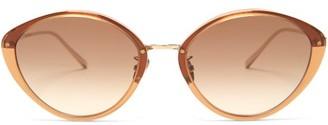 Linda Farrow Lucy Cat-eye Acetate Sunglasses - Brown Gold