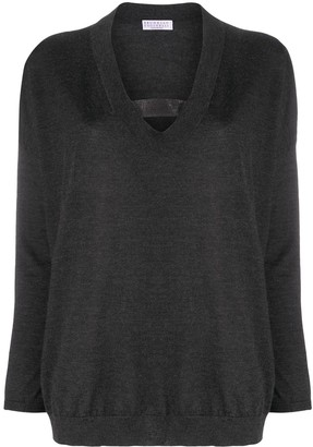 Brunello Cucinelli V-Neck Glitter Band Jumper