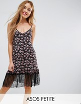 Asos Mini Sundress with Lace Hem In Black Base Floral