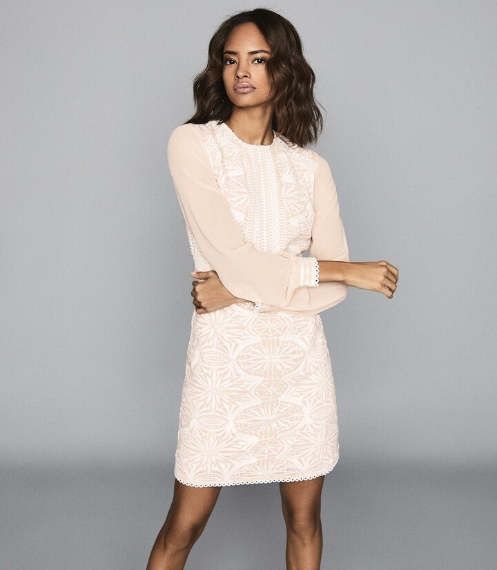 Reiss Aria - Lace-detail Dress in Neutral