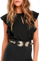 LuLu*s Worldwide Wonder Black and Antiqued Gold Double Buckle Belt