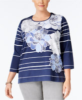 Alfred Dunner Plus Size Uptown Girl Collection Striped Floral-Print Top