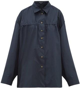 story. White Masquerade Wide-sleeved Cotton-poplin Shirt - Womens - Navy