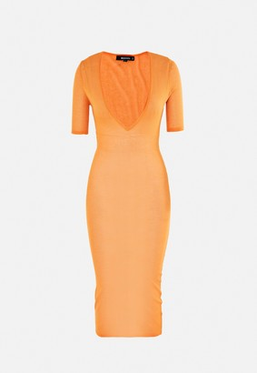 Missguided Orange Sheer Knit Plunge Midi Dress