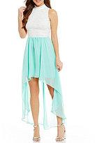 B. Darlin Mock Neck Lace High-Low Sheath Dress