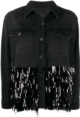 Pinko Contrast Sequin-Embellished Denim Jacket