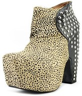 Jeffrey Campbell What Envi Women Open Toe Leather Tan Platform Heel.