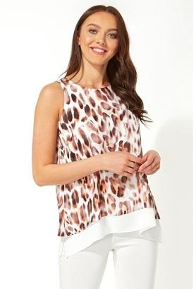 M&Co Roman Originals animal print chiffon vest top