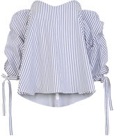 Caroline Constas Blue & White Stripe Gabriella Top