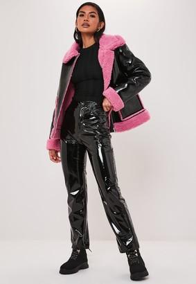 Missguided Pink Borg Teddy Vinyl Aviator Jacket
