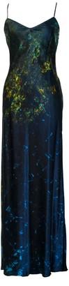 Carmen Molina Arctic Lilies Silk Slip Dress