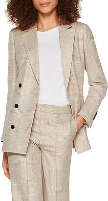 SUISTUDIO Joss Double Breasted Plaid Wool Blend Suit Jacket