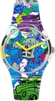 Swatch Unisex Swiss Wall Paint Multicolor Silicone Strap Watch 41mm SUOW133
