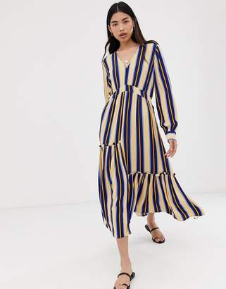 Selected stripe maxi dress-Blue