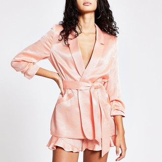 River Island Coral ruched sleeve tie belted blazer