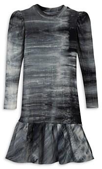 Aqua Girls' Puff Sleeve French Terry Flounce Dress, Big Kid - 100% Exclusive