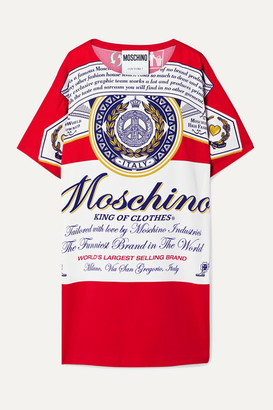 Moschino + Budweiser Printed Stretch-crepe Mini Dress - Red