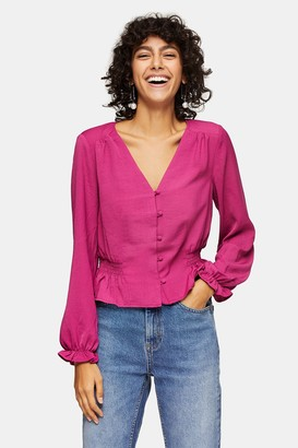 Topshop Womens Magenta Pink Blouse - Magenta